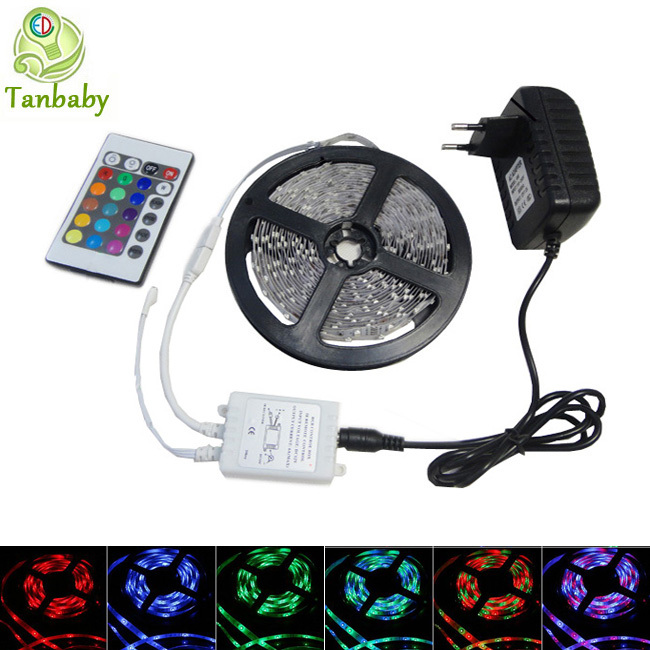 Tanbaby led strip 3528 DC12V 5M 300led flexible ribbon RGB/White/Red +RGB led controller or DC connector + 24W power adapter(China (Mainland))