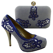 Free shipping italian design woman matching shoe and bag set Dinner party ,nigeria blue high quality for wholesale and retail(China (Mainland))
