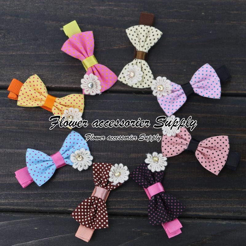 "Free Shipping 100pcs/lot 1.8"" Fabric Cloth Bows Baby Girls Boutique Hair Ribbon Bow WITH Ribbon Lined Hair Clips Hairpins(China (Mainland))"