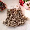 2016 Baby Girls Fashion Outerwear Children Cute Leopard Print Faux Fur Coat Autumn Winter Warm Kids