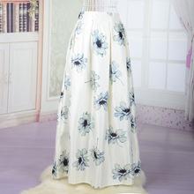 Vintage Style Floor Long Skirt 2016 Blue White Color Flower Printed Maxi A-Line Elastic High Waist Summer Style Women Tutu Skirt