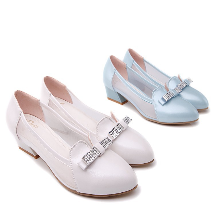 GD POINTY TOE SPARKLING TRIM BOW WITH SQUARE LOW HEEL SIDE MESH FABRIC SHOES FOR WOMEN(China (Mainland))