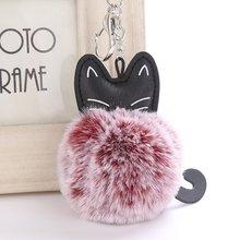 Fofo das mulheres Rex Rabbit Fur Bola Pom Pom Pompom Chaveiro Titular Chaveiro Gatinho Encantos Pingente de Bolsa Acessórios do Saco Das Mulheres(China)