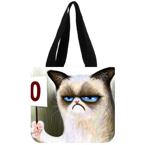 Fashion Canvas Tote Bag Personalized Angry Cat Tard the Grumpy Cat Tote Bag 02(China (Mainland))