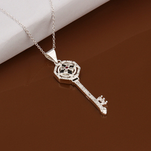 925 sterling silver jewelry fine fashion lucky flower key with crystal pendant stone necklace pendant for women wedding jewelry