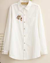 Free Shipping High Quality Fashion Long Sleeve Cat Embroidery Turn-down Collar Woman Cotton Blouse White(China (Mainland))