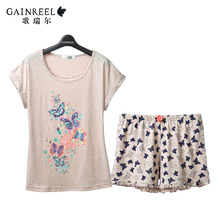 Spring and summer song Riel Ms cute short sleeved printed pajamas suit tracksuit comfort thin models