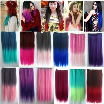 4/5 Clips Heat Resistant Fiber Synthetic Hair Extensions Straight T Color More Colors Womens High Temperature Hairpiece(China (Mainland))