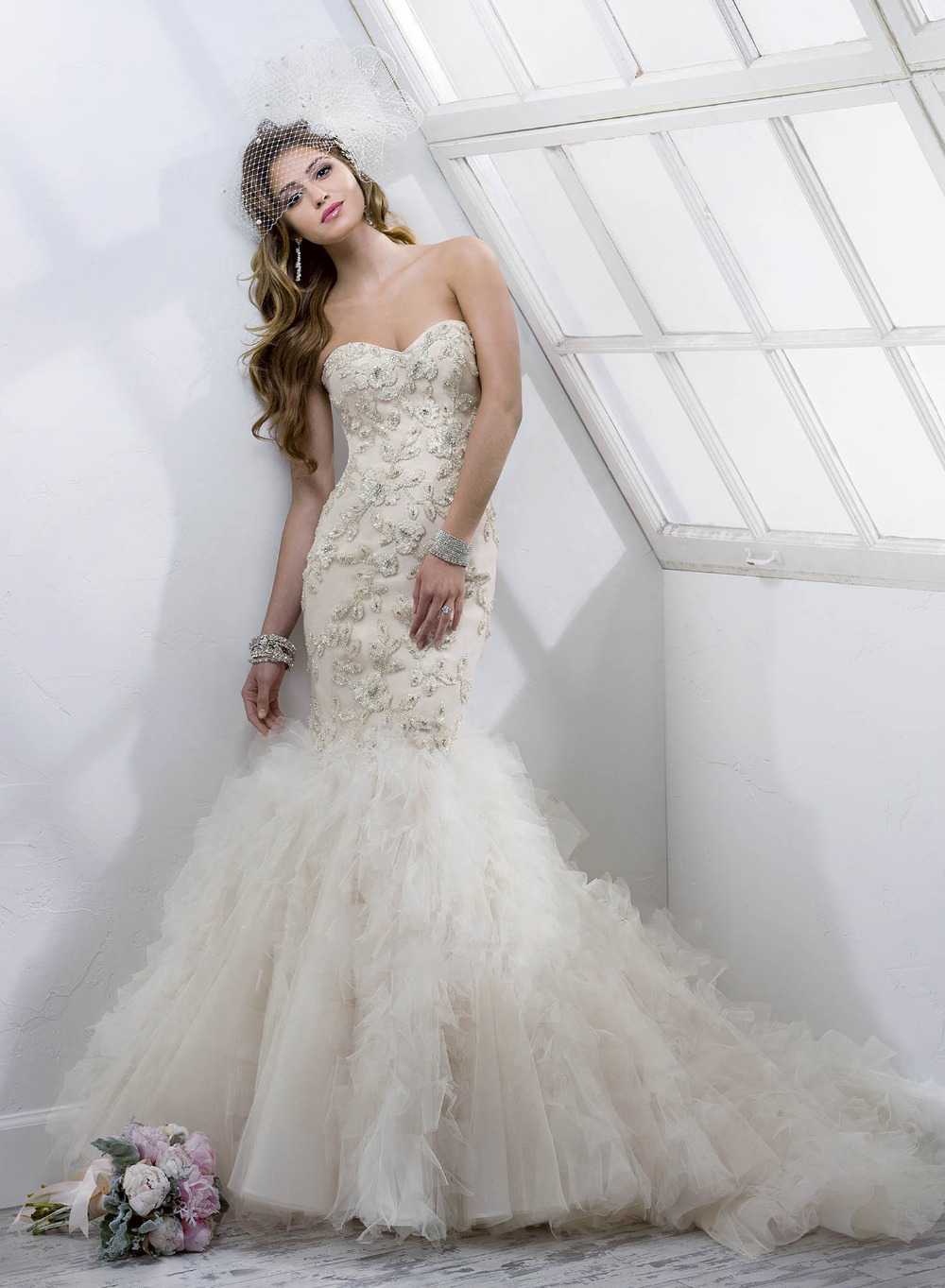 Delicate rhinestone sweetheart mermaid tulle wedding for Bling corset mermaid wedding dresses