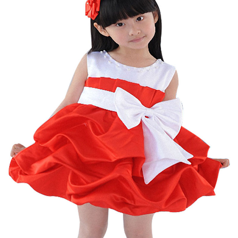 Baby girl tutu dress children bowknot sleeveless dresses Pettiskirt kids fashion clothing girls Princess Dance Party Tulle dress(China (Mainland))