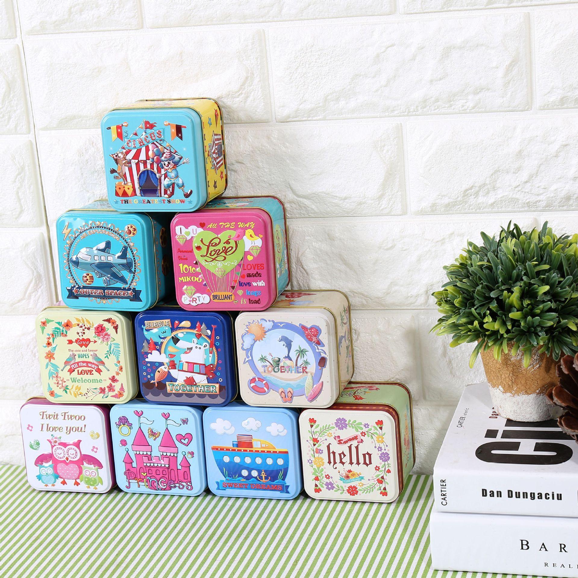 Storage Box Zakka Simple Modern Tin Plate Tea Caddy Metal Box Mini Candy Packaging Candy Container Cartoon 7.5*7.5*6cm(China (Mainland))