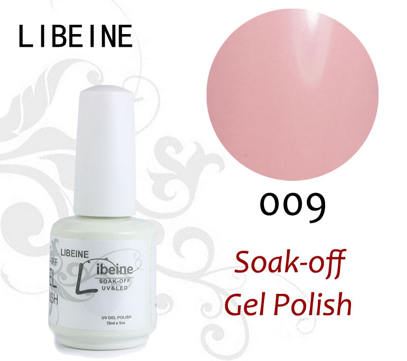 Free Shipping 2014 The Latest New Arrival 101 Colors Libeine Uv Gel 15ml 0.5oz Gel Nail Polish #009 Romatic Pale Pink(China (Mainland))