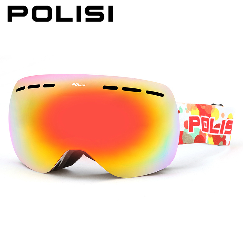 POLISI Men Women Snowboard Ski Goggles Double Layer Anti-Fog Lens Snow Glasses UV400 Winter Skiing Snowmobile Protective Eyewear(China (Mainland))