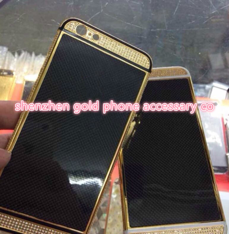 for iphone6 gold crystal carbon fiber, gold full diamond,gold leather all assembly, DHL free shipping(China (Mainland))