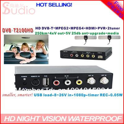 car digical tv receiver 250 KM/H Smaller , Smarter car dvb t car tv receiver H.264 2 tuner PVR USB Record DVB-2100(China (Mainland))