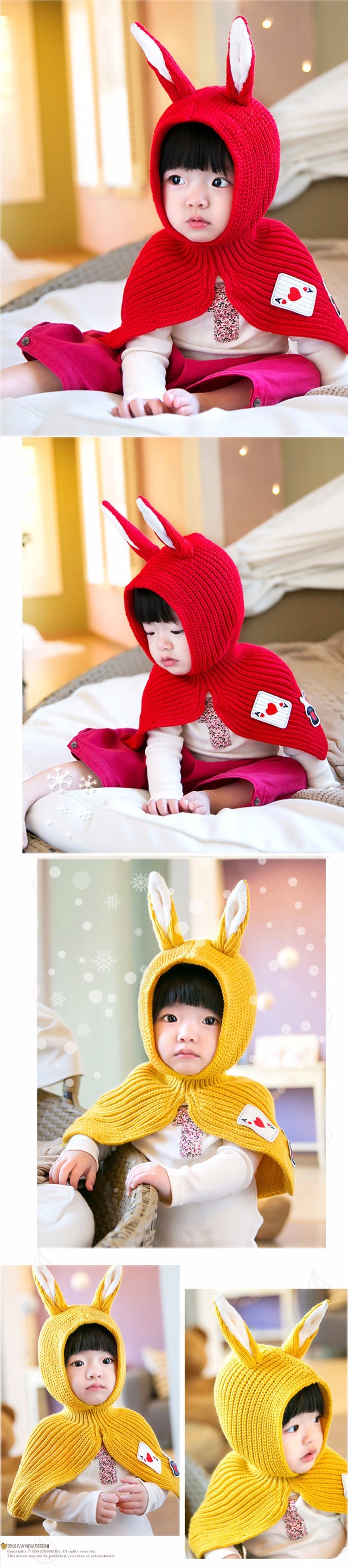 insular Brand Baby Scarf Hat Set Winter Cap Shawl for Girls Kids Animal Rabbit Ears Crochet Knitted Children Photography Props