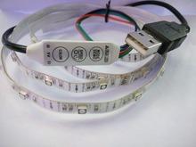 5 В 1 м/шт. USB СВЕТОДИОДНАЯ лента SMD 3528 Гибкие RGB Изменение Цвета СВЕТОДИОДНЫЕ фонари, 16 цвет Для В и На Открытом Воздухе с 3 ключ мини rgb контроллер,