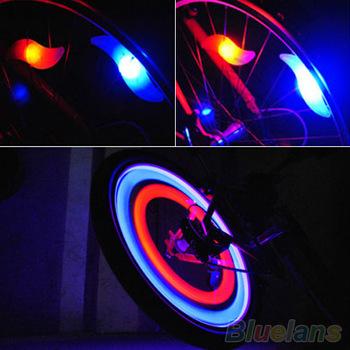 2015 New 2pcs/lot Mix Color Bike Bicycle Car Wheel Tire Valve Cap Spoke Neon Flash LED Lights Cycling Lamps lanterna bike(China (Mainland))