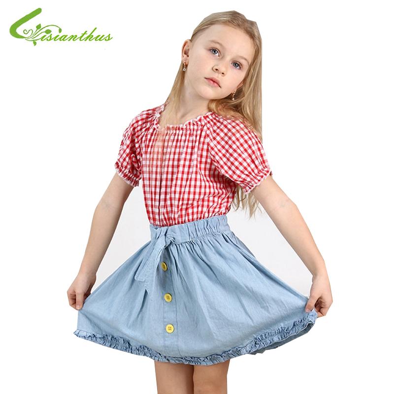 Children Girls Dresses Plaid Short Sleeve Summer Denim Dress Princess Cotton Clothing Kids Clothes Free Drop Shipping Wholesale(China (Mainland))