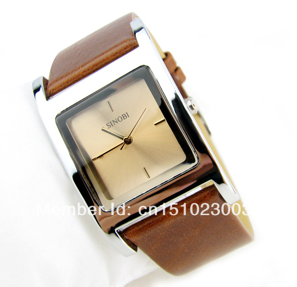 Free shipping 100 brand new luxury man woman leather watch with crystal on dial 3 colors