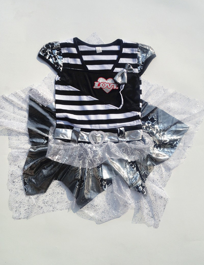 Direct Selling Kids Clothes 2015 Fashion Girl's Dress Love Design Girl Princess Dresses Tutu dress Striped Children Clothing(China (Mainland))