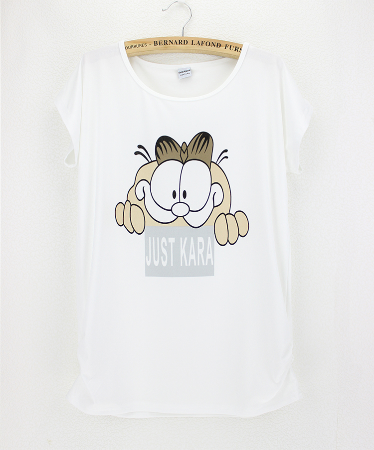 women tshirt cat white round collar summer cheap modal cotton woman tops good quality discount free size tees for female(China (Mainland))