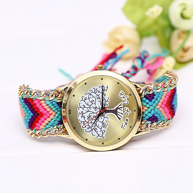 Hot sale Women Dress Watch Tree Pattern Cartoon Quartz Watches Fashion Lovely Handicraft Casual Wristwatches Relojes Mujer 2015<br><br>Aliexpress