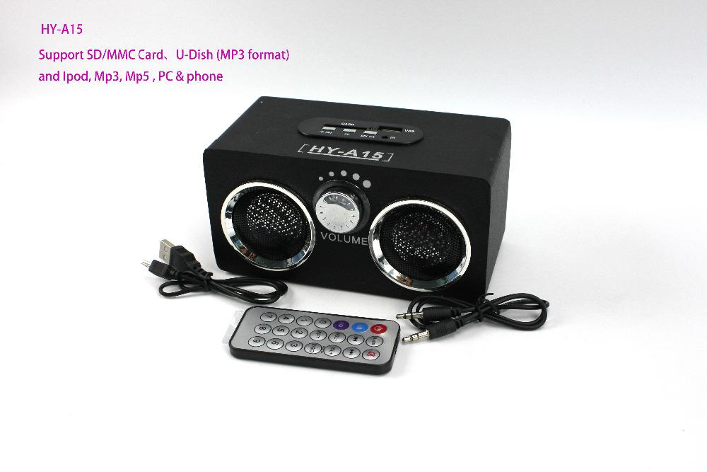 Black HY-A15 Wooden speaker mini dock music box Support Ipod/Mp3/Mp5/PC&Phone/U disk MP3 Format