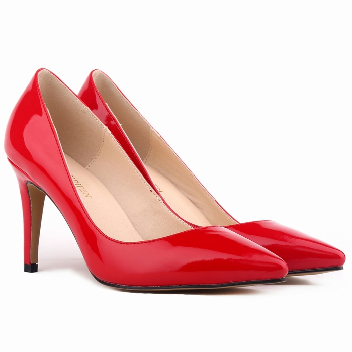 lady Women Patent Leather fashion MID high heels POINTED corset WORK PUMPS COURT SHOES US 4-11 952-1PA<br><br>Aliexpress