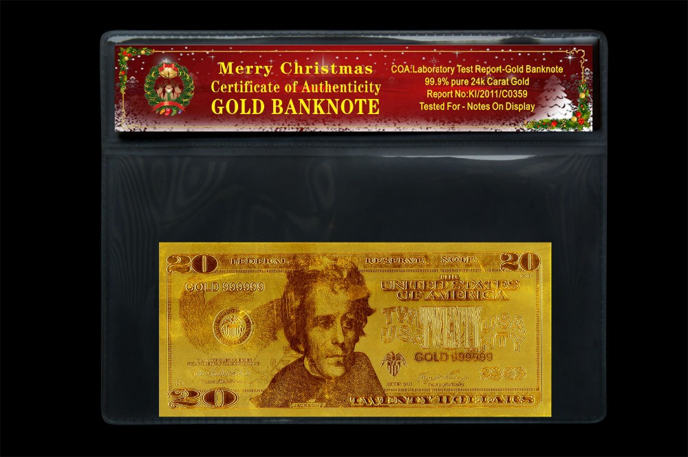 USD20 Dollar Gold Banknote Engraved 999.9% 24K Gold Leaf Beauty Home And Christmas Day Decoration(China (Mainland))