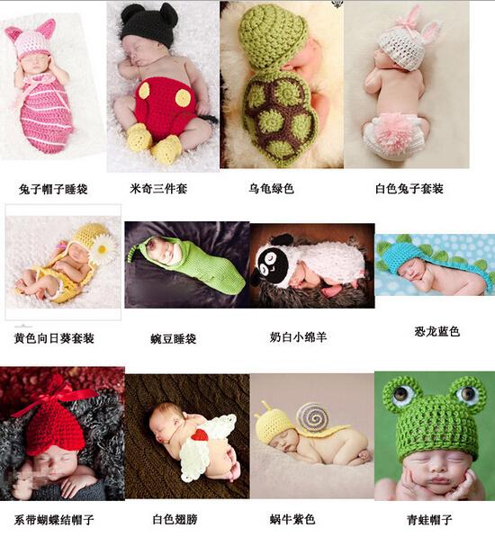 Baby Crochet Knit Costume Photography Photo Prop Hat Outfit Baby Knited Scarf Photography Photo Booth Beautiful Newborn Boy Girl(China (Mainland))
