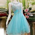 Custom 2017 New Mint Vestidos Graduacion Dresses Short Top Rhinestone Scoop Sheer Backless turquoise Tulle Homecoming