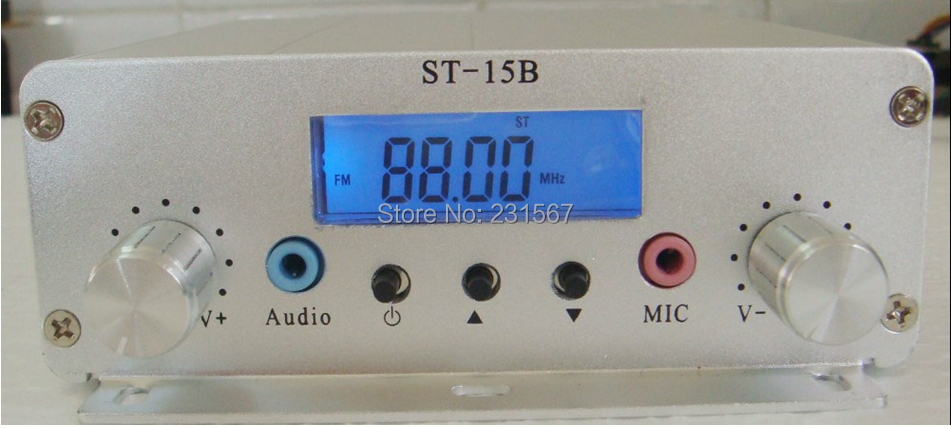 Hot sales! 1.5W/15w pll FM transmitter FMU SER ST-15B with franquency range 87MHz~108MHz(China (Mainland))