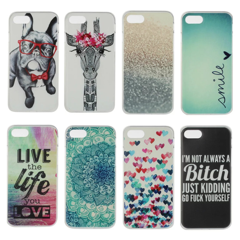 Soft TPU case For Apple Apple Iphone 7 case Silicon Mandala Flower Cute Dog Giraffe Cases for iphone 7 IPhone7 back cover(China (Mainland))