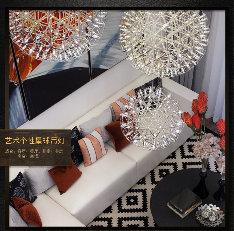 2015 Modern Simple LED Stainless Steel Planet Pendant Light Creative Plated Spark Pendant Light With LED Beads(China (Mainland))
