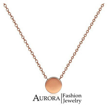 18K Rose Gold Plated Mini GOLDEN BEAN Titanium Steel Women Pendant Chain Necklace Simple Elegant Jewelry Gift FREE SHIPPING
