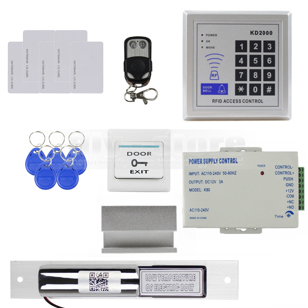 Diy Full Kit Set Rfid Card Door Access Control System + Electric Drop Bolt Lock + Remote Controller KD2000(China (Mainland))