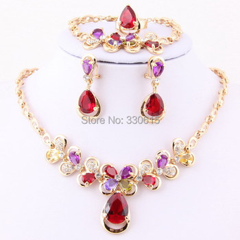 Free Shipping,Fashion Red Zircon Beads Necklace Sets African 18k Gold Plated Crystal Women Accessories Costume Jewelry Sets
