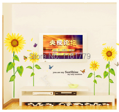 sunflower home decor wall art sticker kids love bedroom decoration crystal removable poster diy bathroom mirror vinyl wall paper