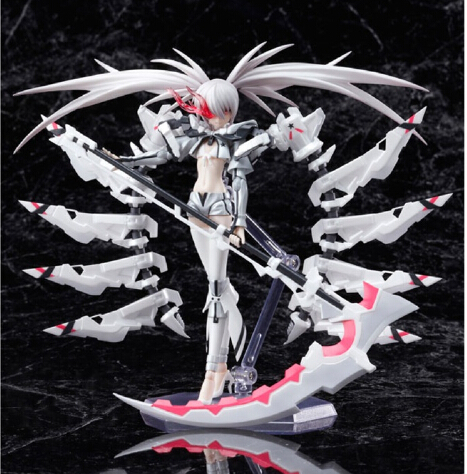 Anime White Rockshooter Black Rock Shooter BRS ultra fine PVC Action Figures Collection Model Toys Doll 15cm Free Shipping(China (Mainland))