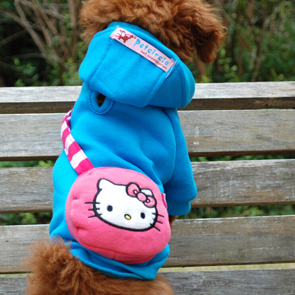 Korean Design Animal Printed Embroidery Cute Bag Cotton Fleece Hoodie Puppy Clothes for Small Dog Tetrapod Clothing Pet Blue(China (Mainland))