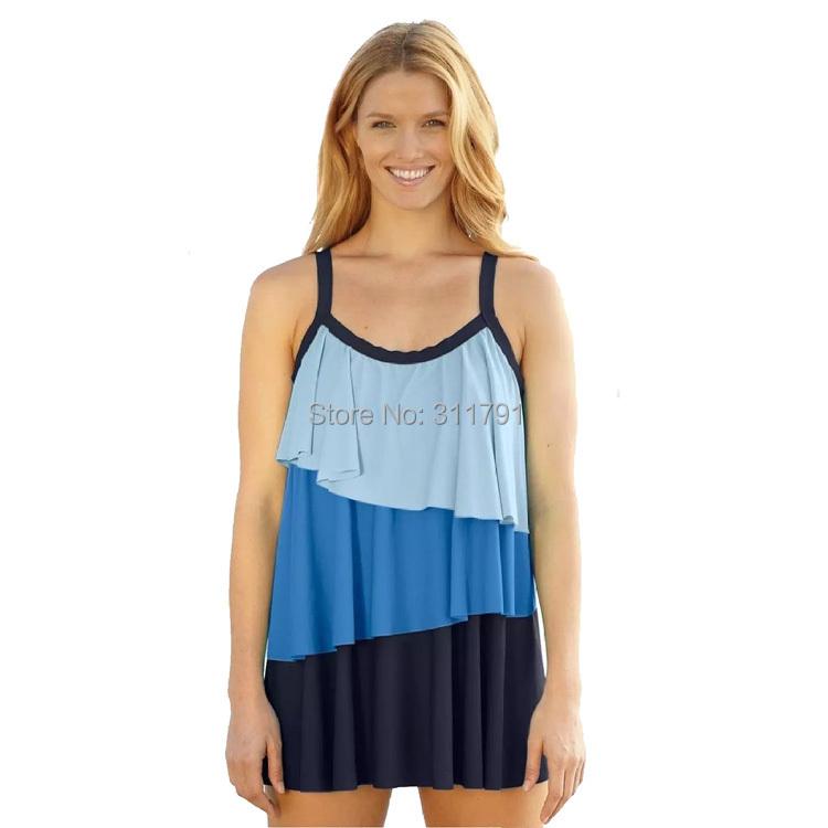 free shipping blue women swimwear swimsuit plus size push up padded tankinis set summer dress. Black Bedroom Furniture Sets. Home Design Ideas