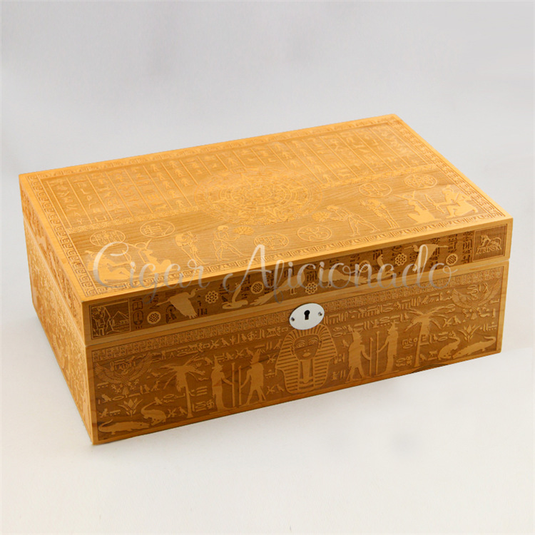 Ancient Egyptian Culture Vintage Style Luxury Wood Carving Pattern Quality Cedar Wood Cigar Humidor Cigar Cabinet Box W/ Lock(China (Mainland))