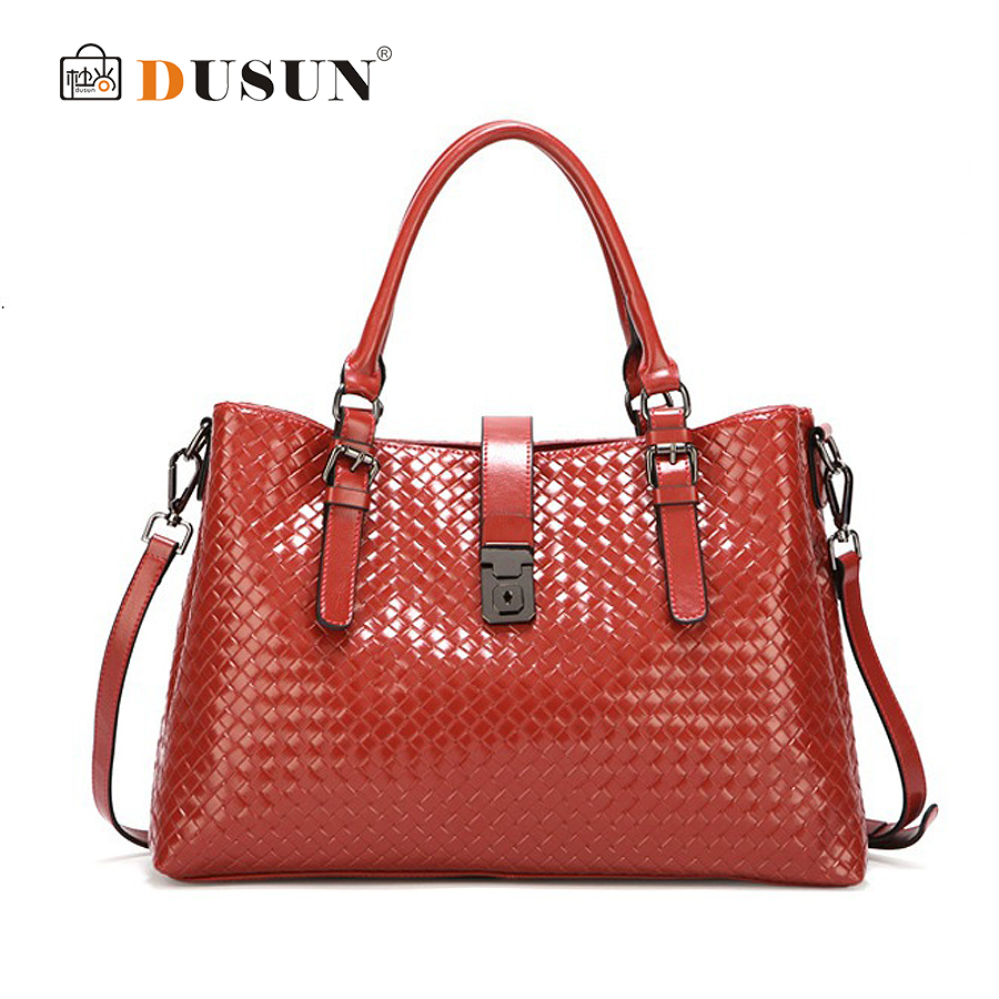 DUSUN New arrive vintage women leather handbags knitting design women bag genuine leather shoulder bag ladies large tote red<br><br>Aliexpress