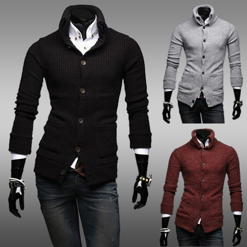Turtleneck male fashionable casual slim sweater solid color cardigan sweater(China (Mainland))