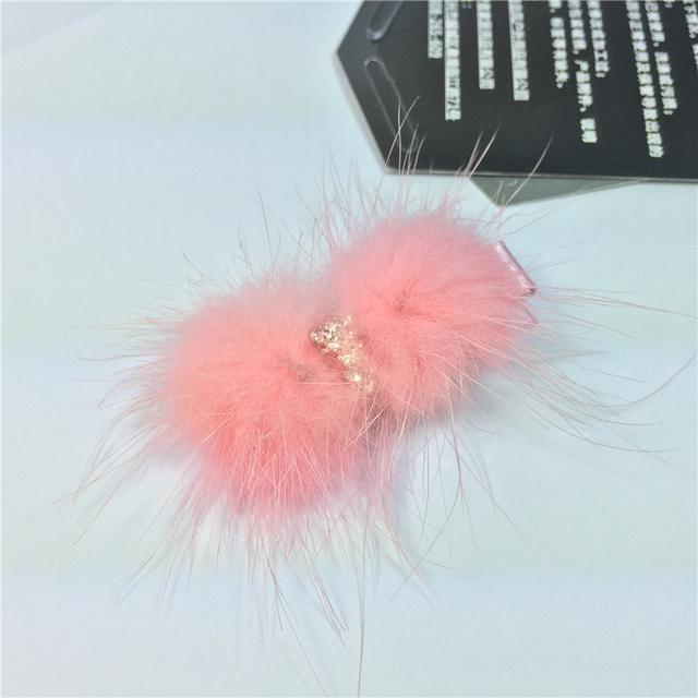 Сверкающие стразы с бантом мех кролика волосатые девочка зажим для волос розовый ...