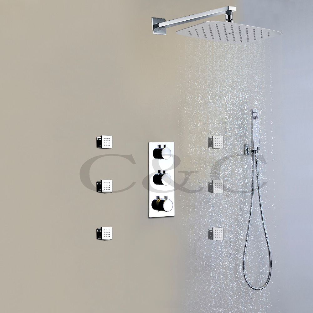 Contemporary Thermostatic Bathroom Shower Faucet Set Air Drop Ultra-thin Water Saving Rain Shower Head(China (Mainland))