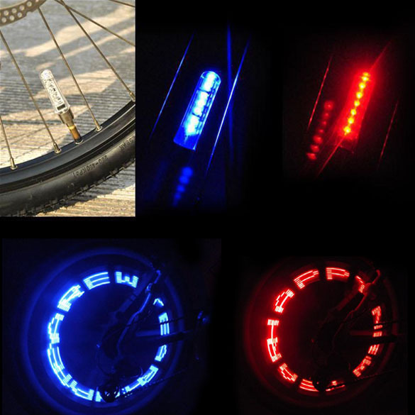 Double-side Bike Cycling Bicycle Fashion Motorcycle Car Tyre Tire Wheel Valve 7 LED Flash Light Letter Change H1E1(China (Mainland))