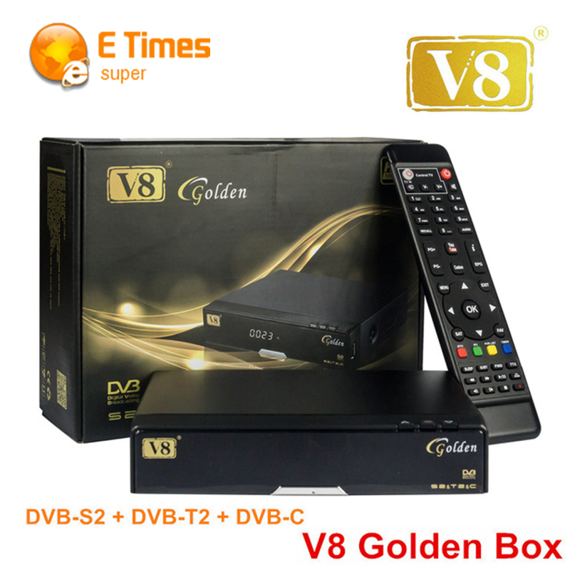 [Genuine] FREE SAT V8 Golden Satellite TV Receiver DVB-S2+T2/C Combo HD Digital Decoder support CCCAM NEWCAM Powervu Set-Top box(China (Mainland))