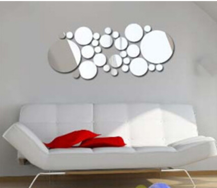 1Set Simple 3D Wall Stickers DIY Home Decoration Round Mirror Surface Wall Sticker